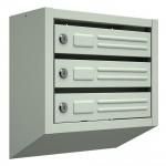 Почтовый ящик Эконом, 3-х секционный, серый БЕЗ ЗАМКА (ВхШхГ- 410x380x190мм)